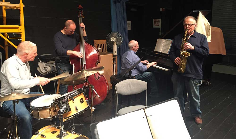 The Mike Ficco Quartet rehearsing.