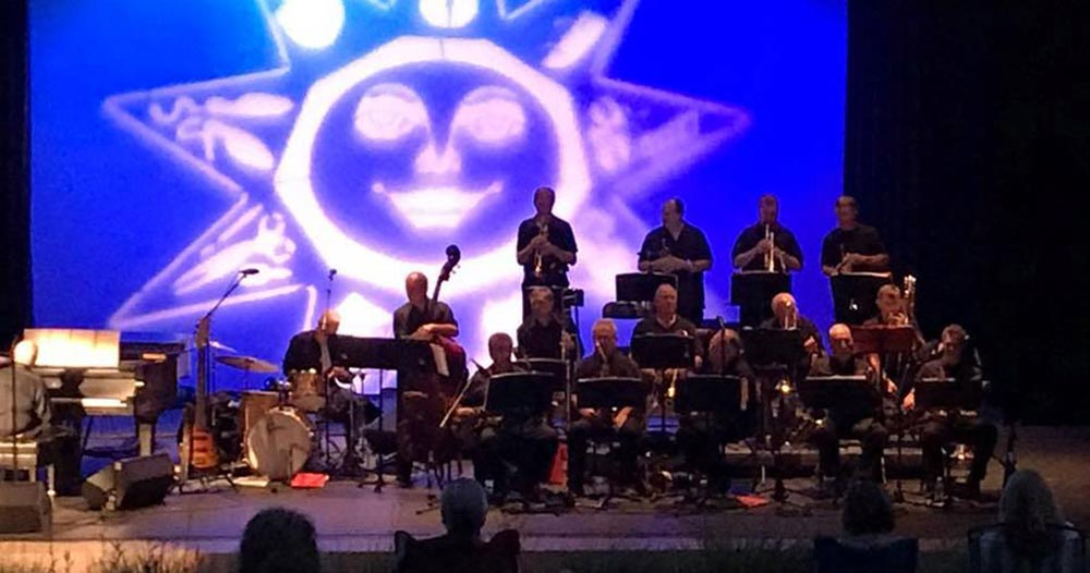 The Long Island Jazz Orchestra performing on the Chapin Rainbow Stage during the Huntington, NY Summer Festival.