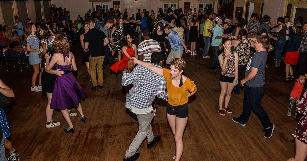 Swing dancers dancing to the music of the Long Island Jazz Orchestra